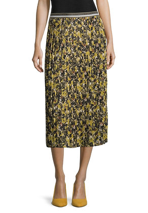 Betty Barclay Midi Pleat Skirt - Olive Floral