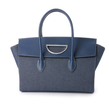 Samantha Thavasa Violet D Denim Large Tote - Navy/Dark Denim