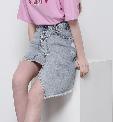 SJYP Asymmetric Denim Skirt