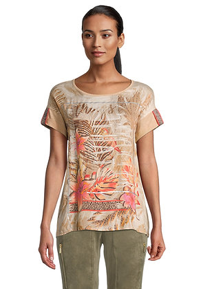 Betty Barclay Printed Loose Tee - Beige/Camel
