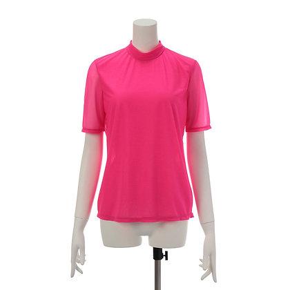 Taro Horiuchi SS20 Neon Pink Back Drawstring Turtle Blouse