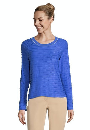 Betty Barclay Long Sleeved Textured Top - Adria Blue