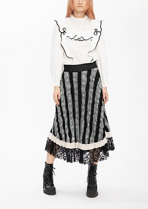 Vivienne Tam Black Jacquard Patchwork Pleating Skirt