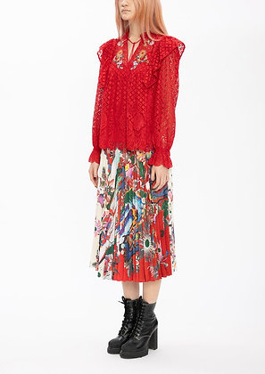 Vivienne Tam Scholars Embroidery Lace Netting Blouse - Red