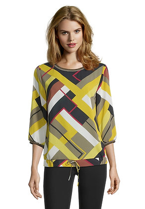 Betty Barclay Long Sleeve Blouse - Yellow Graphic