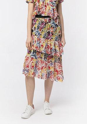 Vivienne Tam SS20 Flower Power Ruffle Midi Skirt