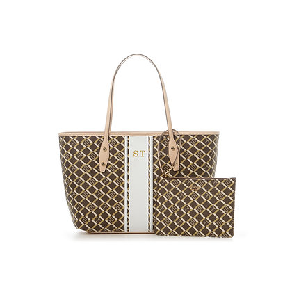 Samantha Thavasa Monogram Shopper Tote - Brown/Beige