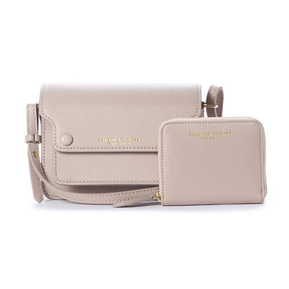 Samantha Thavasa Petit Choice Dusty Pastel Duo Mini Bag Wallet Set - Greige