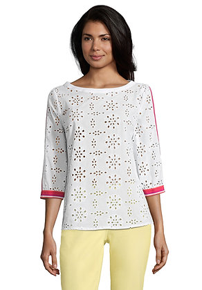 Betty Barclay Contrast Lace Blouse - White