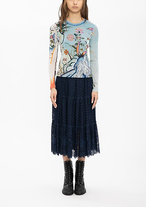 Vivienne Tam Mini Scholars Rock Embroidery Badges Lace Skirt - Navy
