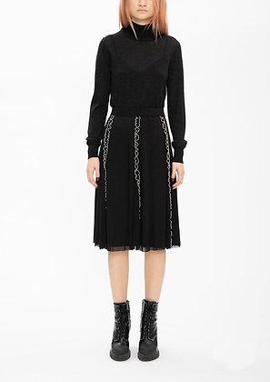 Vivienne Tam Ruffle Netting Merrow Stitching Skirt - Black/Beige