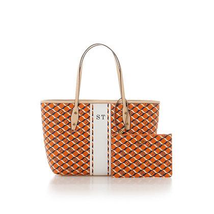 Samantha Thavasa Monogram Shopper Tote - Orange/Beige
