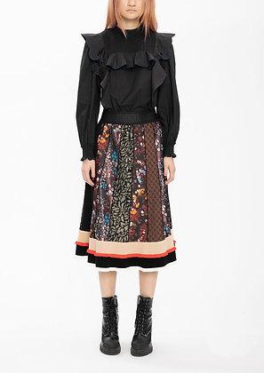 Vivienne Tam Multi Jacquard Patchwork Midi Skirt