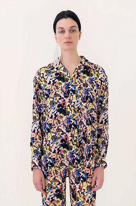 Arthur Arbesser Printed Long-Sleeve Shirt - Black/Yellow/Multi