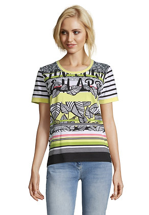 Betty Barclay Yellow Print Stripe Tee