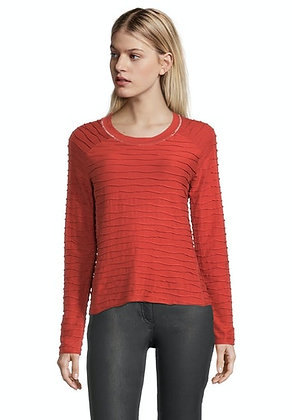 Betty Barclay Long Sleeved Textured Top - Red
