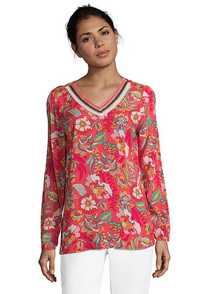 Betty Barclay Red Floral Kaftan Top