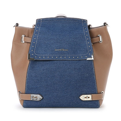Samantha Thavasa Studded Denim 2-Way Backpack - Tan/Dark Denim