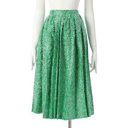 Taro Horiuchi SS20 Green/White Random Pleats Skirt