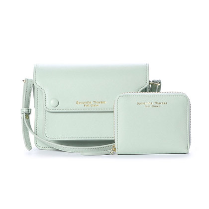 Samantha Thavasa Petit Choice Dusty Pastel Duo Mini Bag Wallet Set - Mint