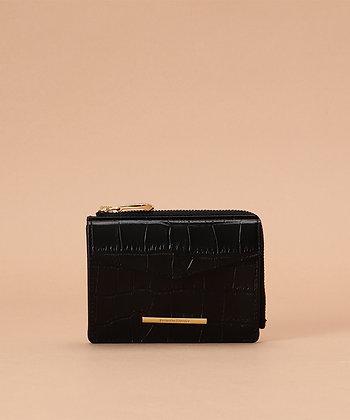 Samantha Thavasa Croco Small Wallet - Black