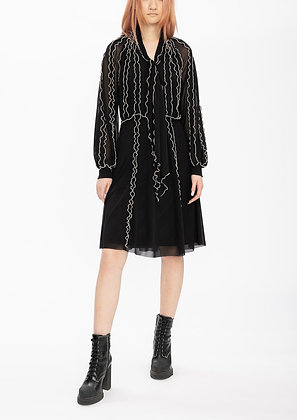 Vivienne Tam Ruffle Netting Merrow Stitching Dress - Black
