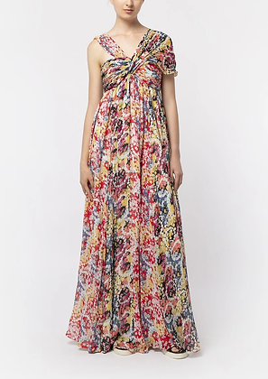 Vivienne Tam Flower Power Chiffon Maxi Dress