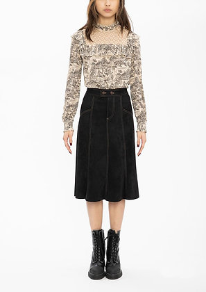 Vivienne Tam Landscape Ruffle High Collar Blouse - Cream/Black