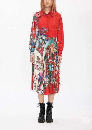 Vivienne Tam Scholars Rock Red Poly Satin Collar Dress
