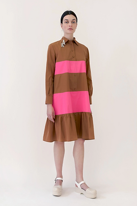 Arthur Arbesser Contrast Frill Shirt Dress - Brown/Pink