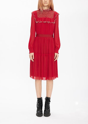Vivienne Tam Ruffle Netting Merrow Stitching Dress - Red
