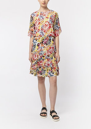 Vivienne Tam Flower Power Blouson Ruffle Dress