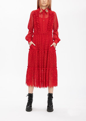 Vivienne Tam Mini Scholars Rock Embroidery Badges Lace Dress - Red