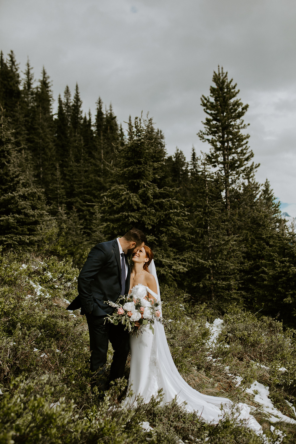 bride and groom mount engadine lodge wedding