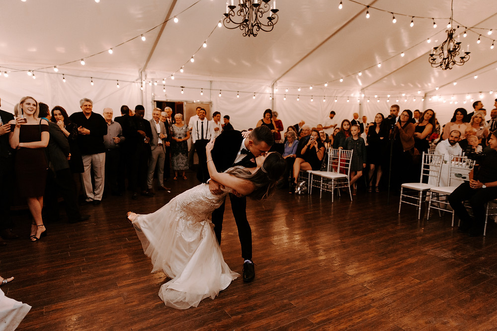 bride and groom first dance Meadow Muse wedding