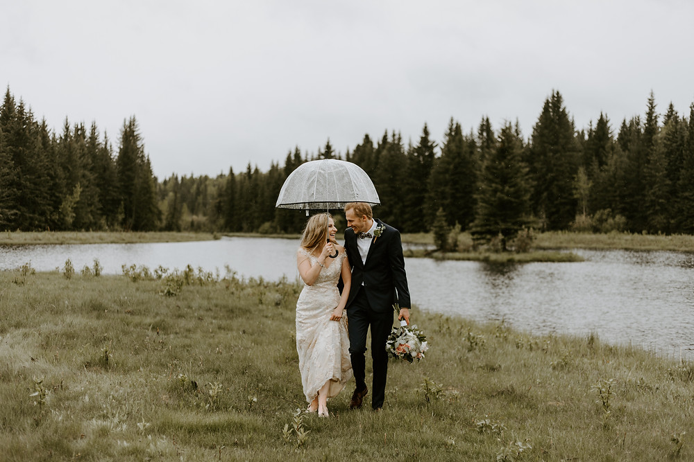 rainy bragg creek wedding bride and groom
