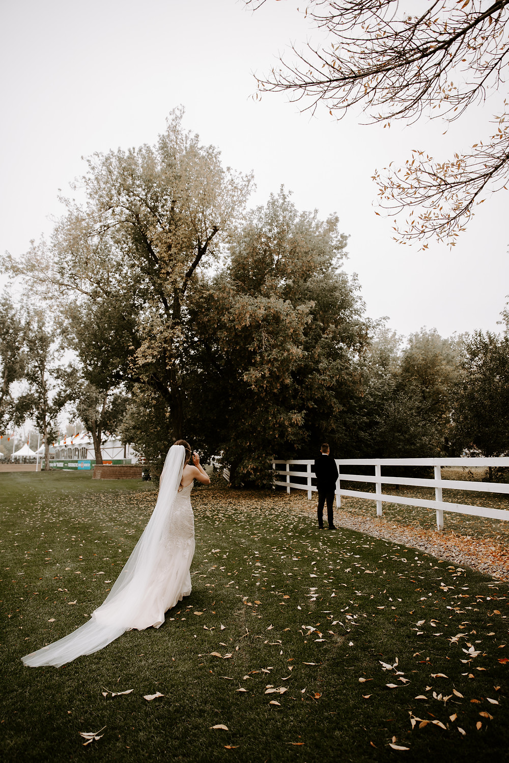 spruce meadows bride and groom first look
