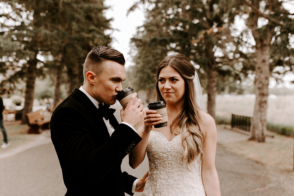 bride and groom drinking coffee meadow muse wedding