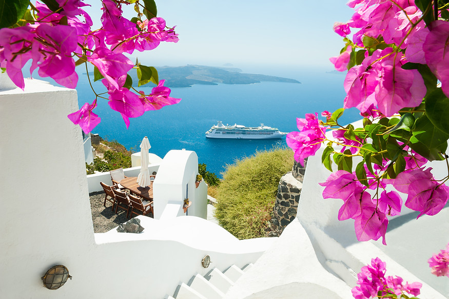 White architecture on Santorini island,