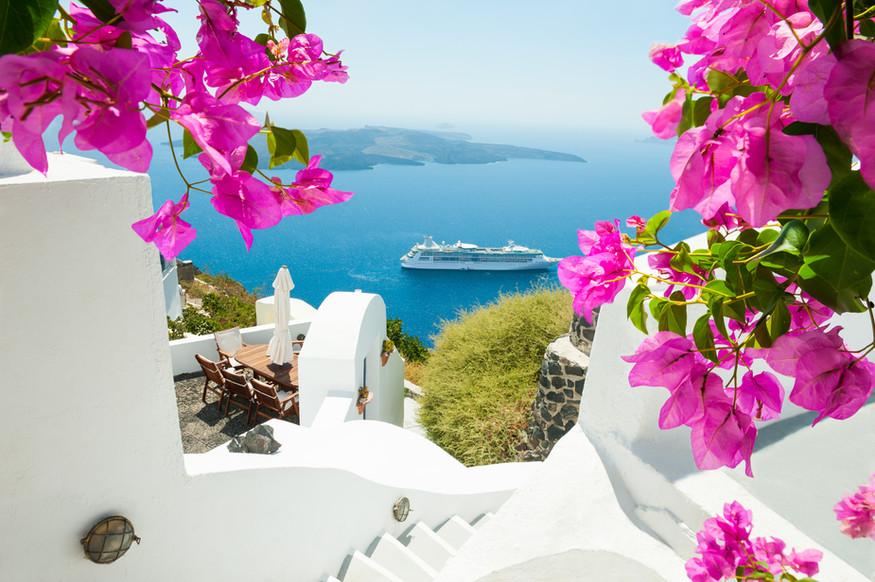 White architecture on Santorini island,