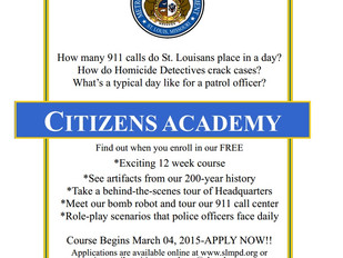 SLMPD Citizens Academy, March 4 - May 20, 2015