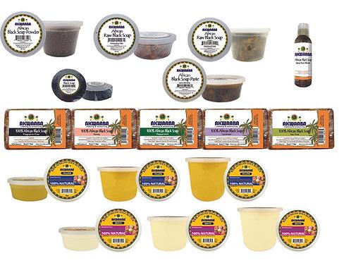 Akwaaba Black Soap, Shea Butter Set