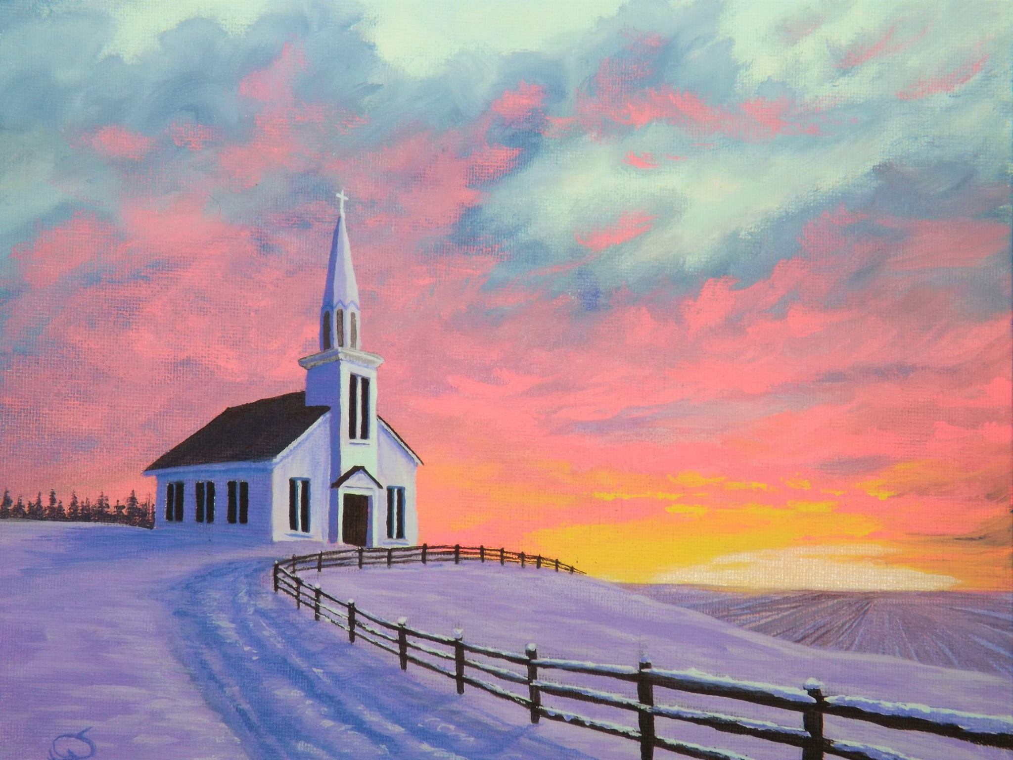 Country Church Sunrise