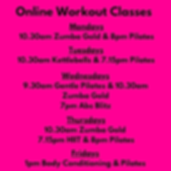 Online Workout Classes w_c 23rd March 20