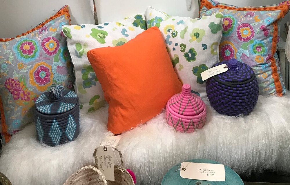 Faux Throw, Vintage Pillows and Cotton Weaved Containers