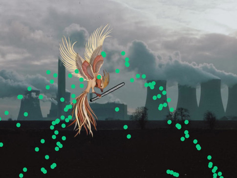 Simorgh scattering the seed of all trees to fight with the pollution