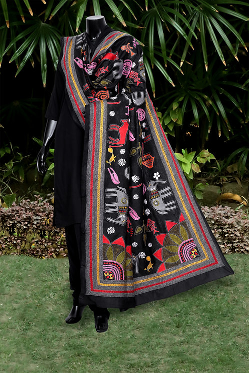 Kantha Silk Dupatta: 079