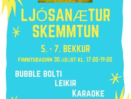 LJÓSANÆTURSKEMMTUN fyrir 5.-7.bekk í Fjörheimum og í íþróttahúsinu í Myllubakkaskóla