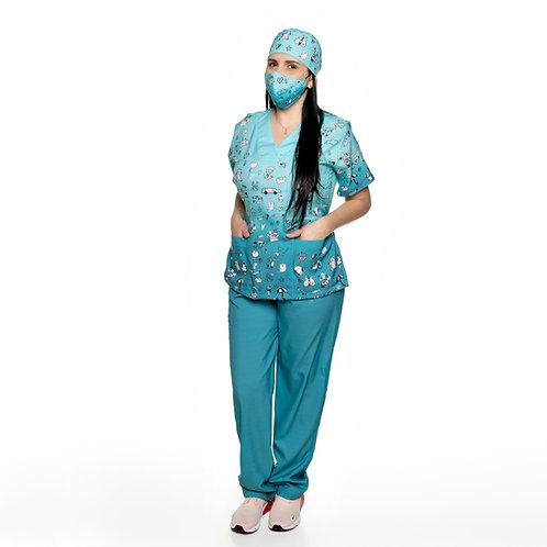 Conjunto (Blusa e Calça) VM04 Pediatria. Ganha 1 Máscara e Nome/Profissão