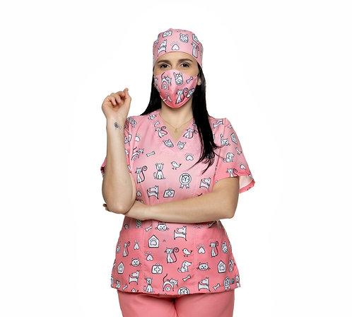 Blusa cirúrgica/Scrub VM053CG.  Ganha 1 Máscara e Nome/Profissão